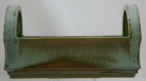 American Encaustic Tile Co AETCO Handled Basket In Green Crystalline Glazes A344