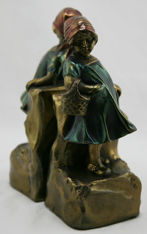 Pompeian Bronze 'Basket Girl' Polychrome Bookends c1925