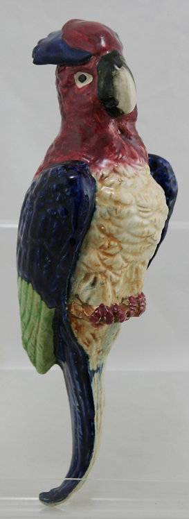 """Japanese 12"""" Cockatoo Wallpocket in Bright Vivid Colors Perched on a Tree Branch"""