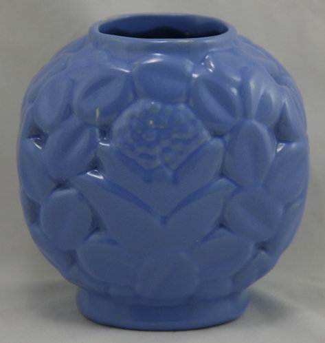 $OLD! TY! Early Haeger Cactus Flower Pillow Vase c1929 Rich Blue/Lavender Glaze