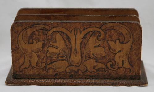 Flemish Art Co. NY Pyrography Letter Holder with Art Nouveau Motif c1910