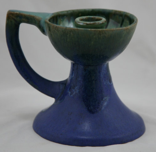 Fulper Handled Candlestick #83 In Blue and Green Glazes Factory Original