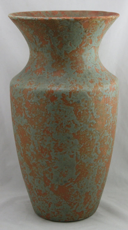 "$OLD! Burley Winter 16"" Floor Vase In Orange and Green Mottled Glazes"