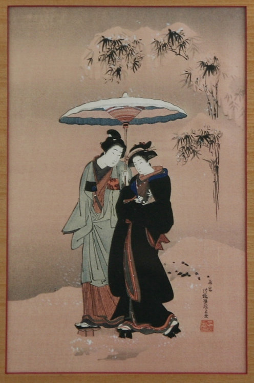 Isoda Koryusai (1764-1788)  Couple Walking in the Snow'