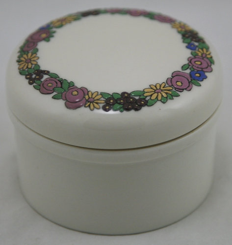 American Lenox Belleek Covered Jar in A&C/Art Deco Blossom Garland Decoration