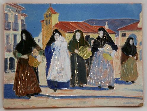 Daniel Zuloaga, Madrid Faience Tile c1908-1915 Christening/Baptism in Segovia
