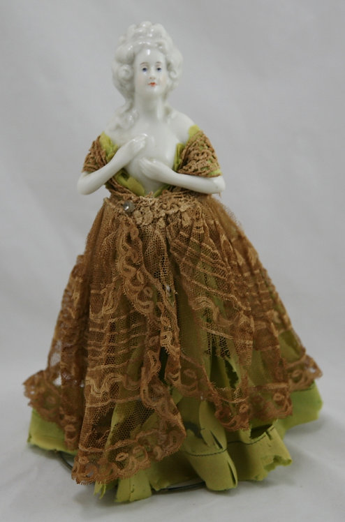 Fulper Half Doll on Original Wire Stand in Original Tulle/Lace Tattered Dress