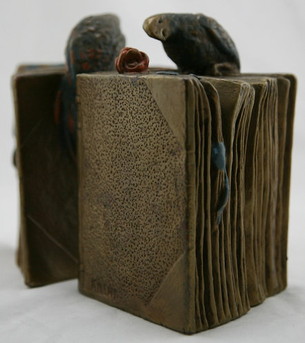 Armor Bronze 'Parrot & Rose on Books' Bookends by Kileny c1920