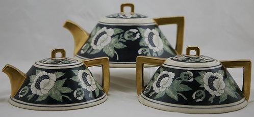 American Satsuma China-Painted Teaset Arts & Crafts Stylized Floral Decoration
