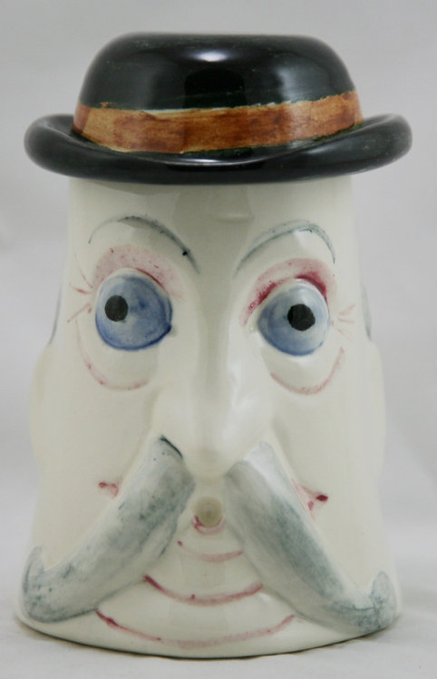 "Stangl Stoby Mug 6.5"" x 6"" 'Archie' W/Handle Bar Mustache Original Factory Mint"