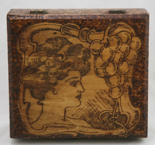 Flemish Art Co. NY Pyrography Wooden Box with Maiden/Grape/Leaf Motif c1900