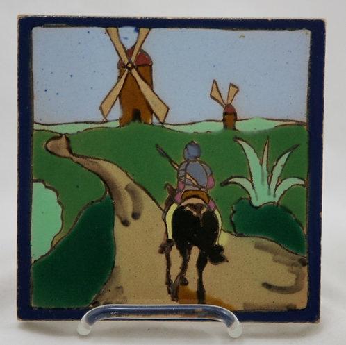 Mensaque Rodriguez Sevilla Tile c1890-1900 Don Quixote Series; Windmills