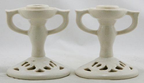 """Fulper 4.25"""" Art Deco Reticulated Candlestick Set in White Satin Mat Glaze F408"""