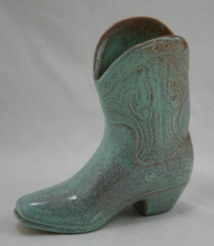 Metlox California Cowboy Boot In Aqua Green Glazes Foil 'Miniatures' Paper Label