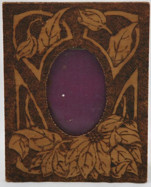 Flemish Art Co. NY Pyrography Wooden Frame with Poinsettia Motif