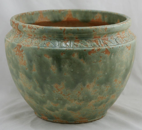 """Burley Winter 9"""" x 12"""" Jardiniere Orange and Green Mottled Glazes #10 for Ped."""