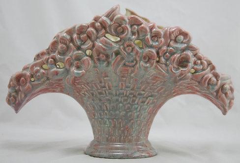 "Royal Haeger Early Mauve Agate 9"" x 13"" Flower Basket Pillow Vase Gorgeous Glaze"