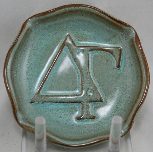 Nicodemus Sorority Plate c1940 In Turquoise/Blue Ferrostone Glazes