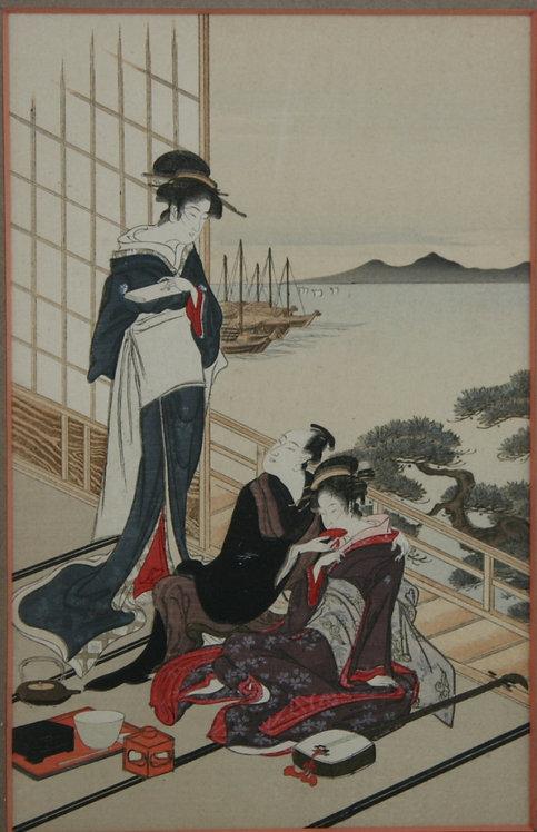 """Nihon Shosui-sha (1912-1926) Album """"Nihon Mokuhangasui"""" Beauties Harbor Scene"""