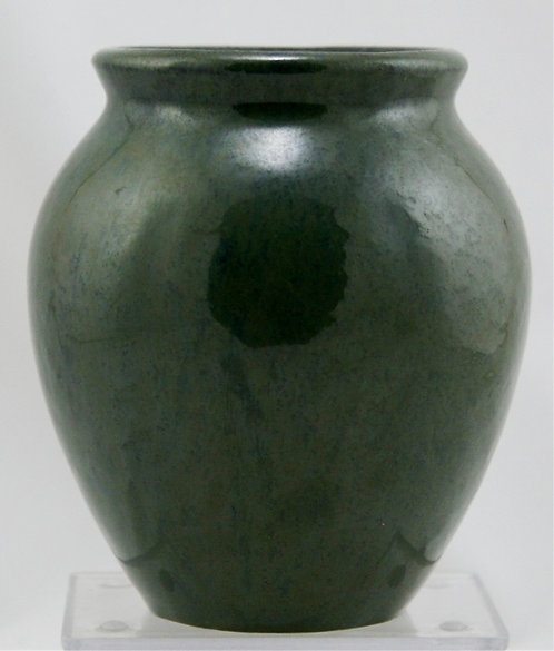 "Fulper 5.25"" x 4.75"" Ball Vase In Stormy Blue/Green Flambe c1917-1920 Mint F433"