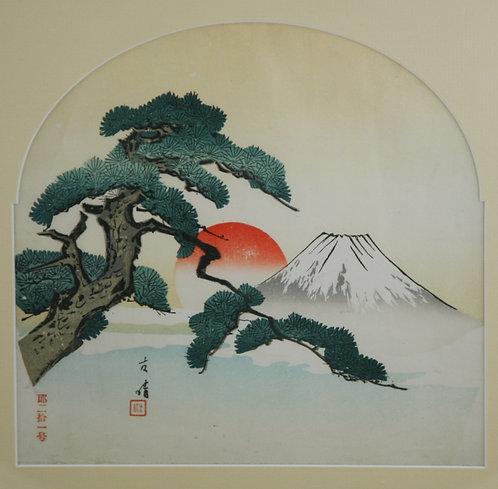 Unread Artist (c1930) 'Mt. Fuji, Rising Sun and Pine Tree'