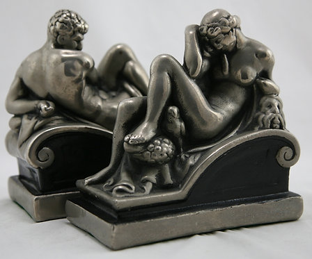 Marion Bronze 'Night & Day' Polychrome Bookends c1950s
