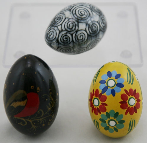 Kogga Ceramics Studio Egg, Pysanky Ukrainian Egg and Russian Black Lacquer Egg
