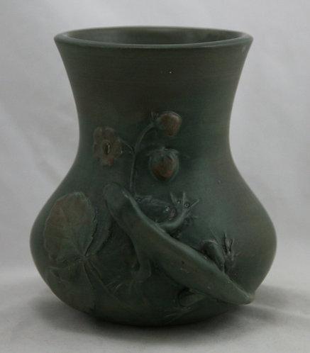 Weller Kenova Arts & Crafts Lizard Vase Organic Olive Green Original Condition