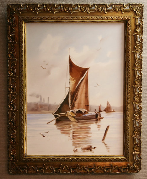 "European Ship Scenic Tile 23"" x 17"" in Ornate Hand-made Gilt Wood Frame c1850"