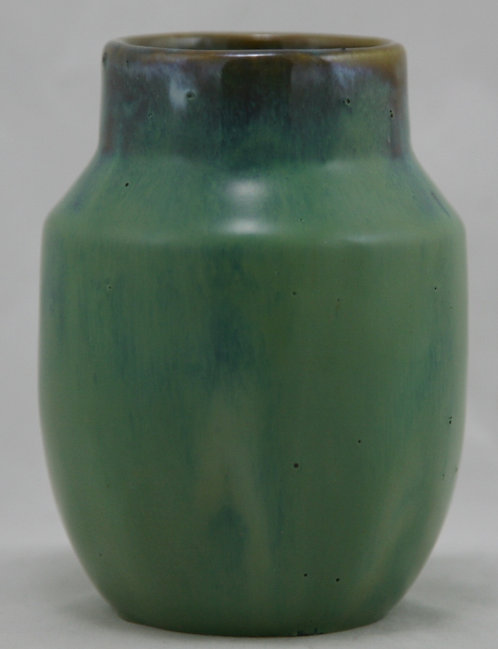 """Fulper Prang 4.5"""" x 3.25"""" Vase One Of The First Fifteen In Brown Over Green/Blue"""