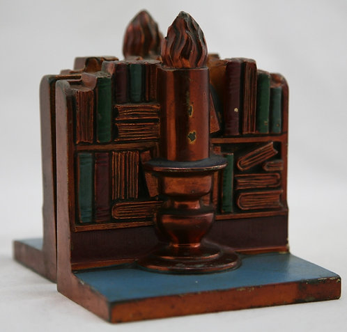 Ronson Metal Works 'Volumes & Candlelight' Polychrome Bookends c1930