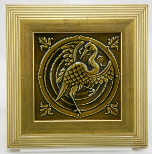 """Vintage Belgium 9.75"""" (6"""") Framed Tile W/Crane Medallion Motif Mint"""