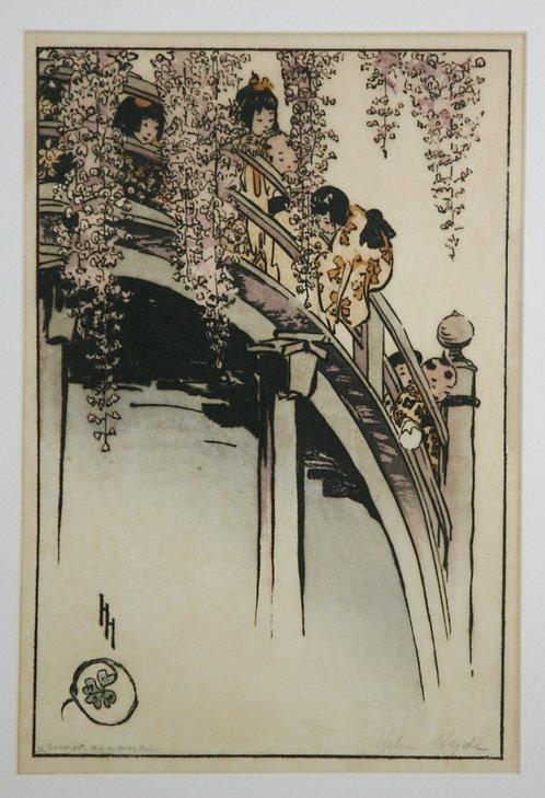 $OLD! TY! Helen Hyde (1868-1919) Lima, NY 'Moon Bridge at Kameido'