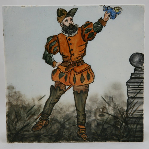 English Art Tile Hand-Painted 'Falconer' Scene by Artist H.P. Steel Dated 1889