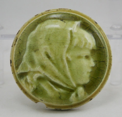 """Trent Tile Co. Young Girl in Kerchief Portrait 3"""" Round Stove Tile Green Glaze"""