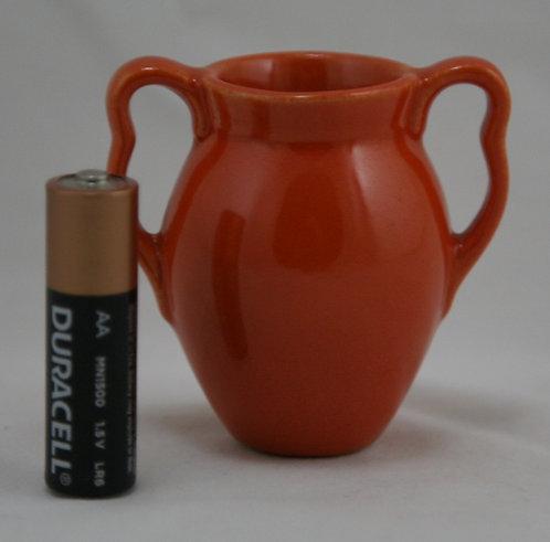 Stangl Miniature Crimped Handled Vase #2014 in Tangerine Glaze 1930s