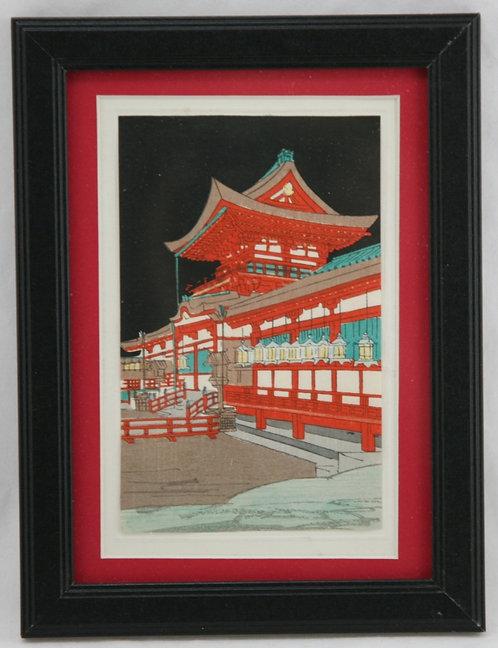 $OLD! TY! Kobayashi Kiyochika (1847-1915)  'Festive Red Temple'