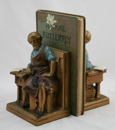 Kronheim & Oldenbusch 'Hans Sachs' Poet/Shoemaker Polychrome Bookends