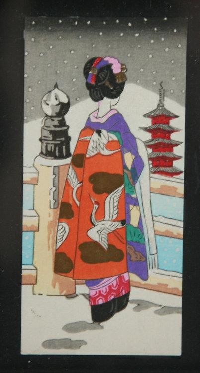 Takeji Asano (1900-1999) 'Maiko Viewing Horyuji Temple in Nara'