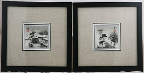 Unread Artist 'Fishing Villages' Matched Pair