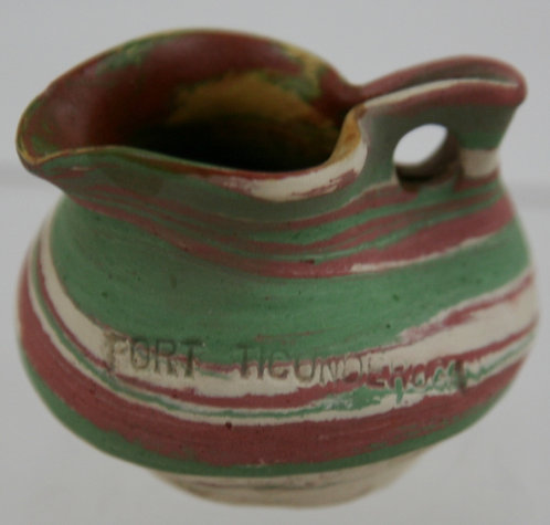Fort Ticonderoga Miniature Swirl Pottery Pinched Pitcher by Henry A. Graack Jr.