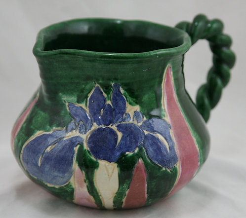 Awaji Pottery Pitcher with Irises Rope Twist Handle c1880-1939