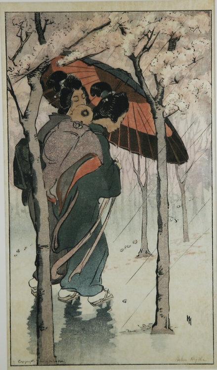 Helen Hyde (1868-1919) American, Lima, NY 'Cherry Blossom Rain' d1905
