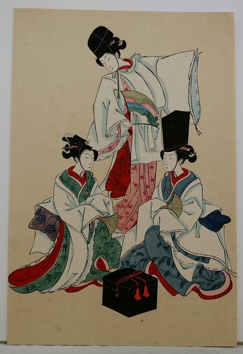 Isoda Koryusai (1764-1788) 'Toyoharu of the Chôjiya, Kamuro Tasoya and Takino'