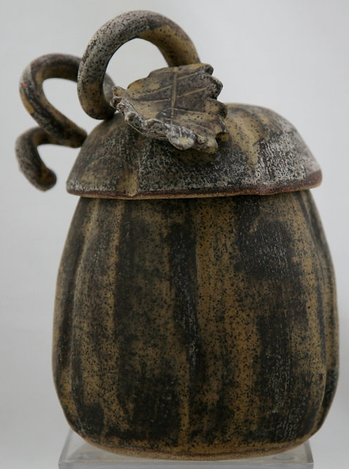"""Rae Marie Crisel Lidded Contemporary Stoneware Gourd 7.5"""" Mint C368"""