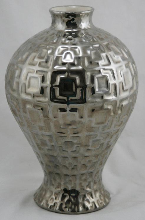 "Jonathan Adler Studio 11"" 'Laurel' Vase Silver Mirrored Glaze Modern Decor Peru"