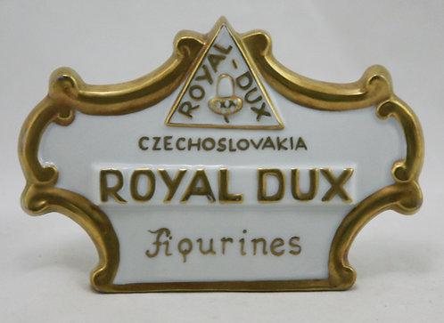 Royal Dux Czechoslovakia Porcelain Figurines Dealer Sign in Gold Trim