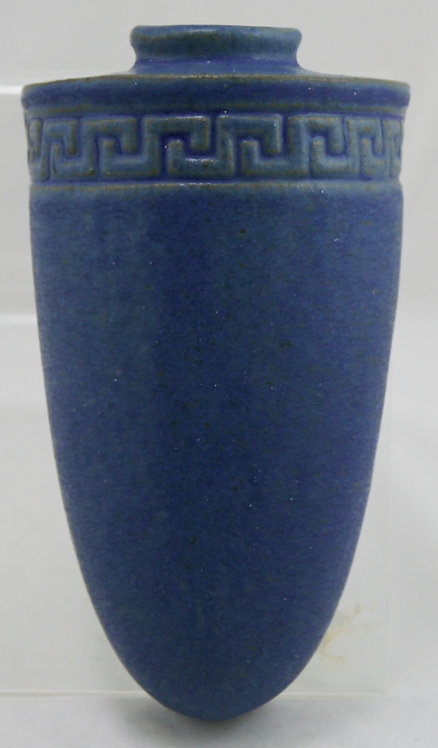 "Fulper 8"" Wallpocket Greek Key Banded Design Shape 487 in Blue Matte Glaze c1909"