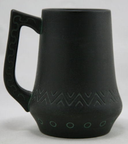 Norse Pottery Mug In Brushed Black/Bronze/Green Patina A&C Motif #61