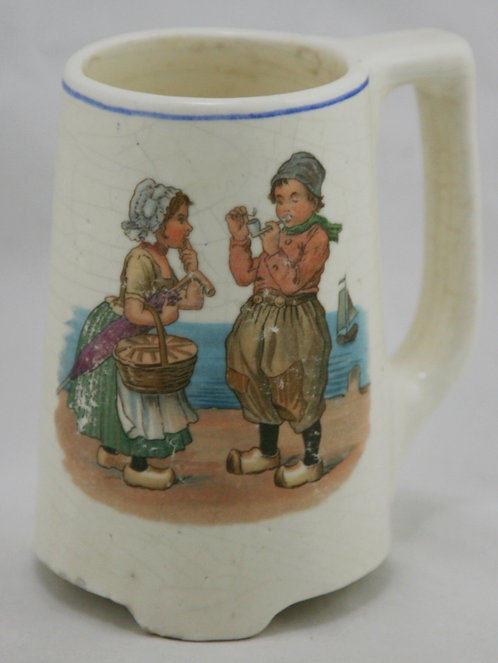 Roseville Dutch Creamware Mug with a Young Couple by the Shore